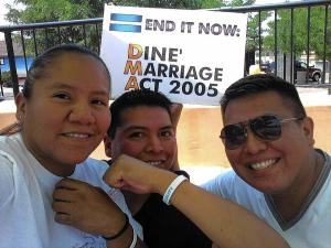 Coalition for Navajo Equality activists Tamra Yonnie, from left, her brother Brennen Yonnie and his partner, Alray Nelson. The coalition is working to repeal the Navajo Nation's 2005 ban on same-sex marriage.